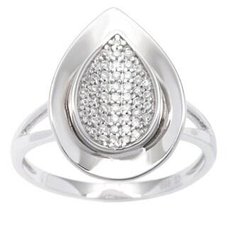 La Preciosa Sterling Silver Cubic Zirconia Curved Teardrop Ring