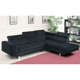 Furniture of America Gas-lift Headrest Black Bella Sectional  sc 1 st  Overstock.com : black sofa sectional - Sectionals, Sofas & Couches