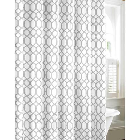 Tommy Bahama Shoretown Trellis Grey Cotton Shower Curtain