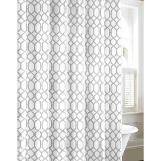 Charmant Tommy Bahama Shoretown Trellis Grey Cotton Shower Curtain