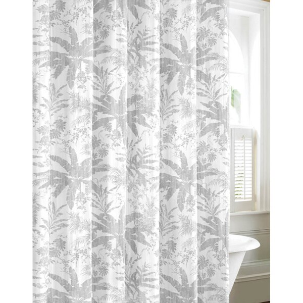 Shop Tommy Bahama Bayloon Breeze Gray Cotton Shower Curtain