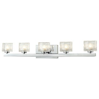 Z-Lite 'Rai' Chrome/ Textured Glass 5-light Vanity Fixture