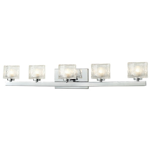 lite 39 rai 39 chrome textured glass 5 light vanity fixture free. Black Bedroom Furniture Sets. Home Design Ideas