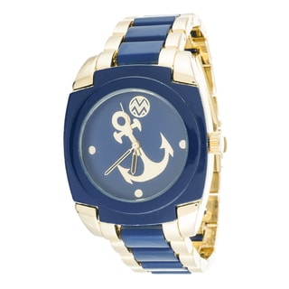 The Macbeth Collection Anchor Metal Blue Square Watch