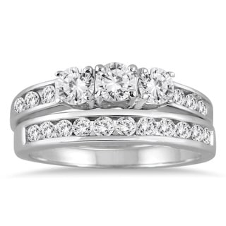 Marquee Jewels 10k White Gold 1 1/2ct TDW Three-stone Diamond Bridal Set (I-J, I2-I3)
