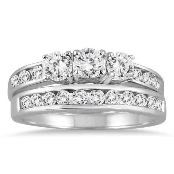 Marquee Jewels 10k White Gold 1 1/2ct TDW 3-stone Diamond Bridal Set