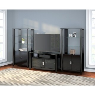 Aero TV Stand and Set of 2 Tall Library Storage Cabinets with Doors