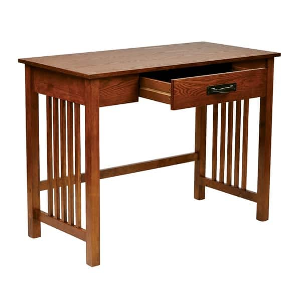 Osp Home Furnishings Mission Desk In Ash Oak Finish With Pull Out Drawer Solid Wood Legs