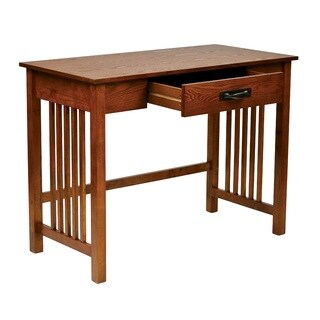 Mission Desk in Ash Oak Finish with Pull Out Drawer & Solid Wood Legs