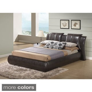 Brown Faux Leather Platform Bed (King size)