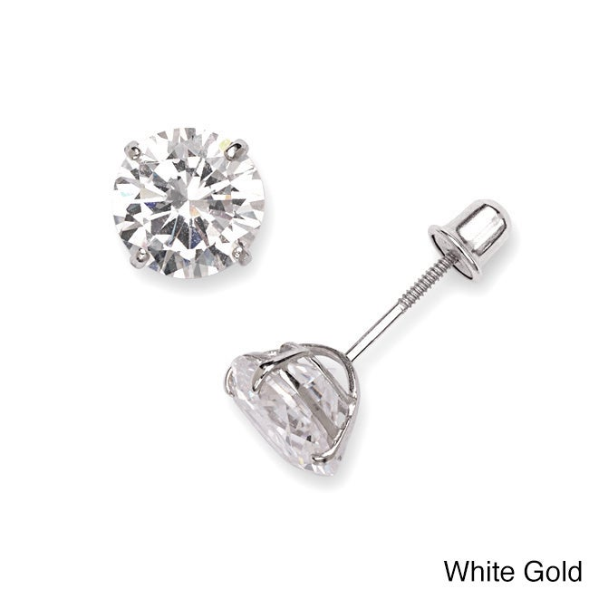 14k White Or Yellow Gold 6mm Cubic Zirconia Back Stud Earrings