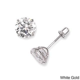 Link to 14k White or Yellow Gold 6mm Cubic Zirconia Screw-back Stud Earrings Similar Items in Earrings