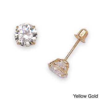14k White or Yellow Gold 6mm Cubic Zirconia Screw-back Stud Earrings
