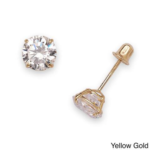 14k White or Yellow Gold 6mm Cubic Zirconia Screw-back Stud Earrings