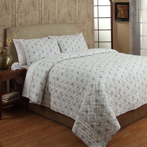 Floral Bouquet Blue 3-piece Cotton Quilt Set