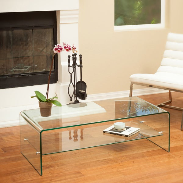 ramona glass coffee table with shelfchristopher knight home