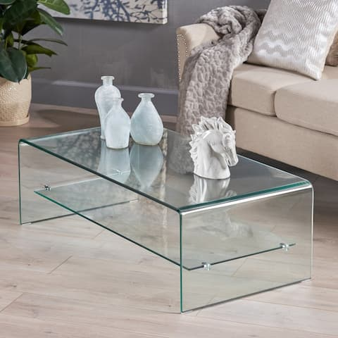 Ramona Glass Coffee Table with Shelf by Christopher Knight Home