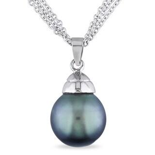 Miadora Sterling Silver Tahitian Pearl Drop Necklace (12 mm)