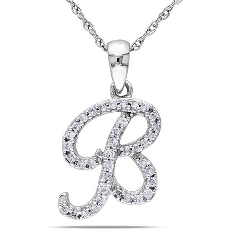 Miadora 10k White Gold 1/6ct TDW Diamond 'B' Initial Necklace