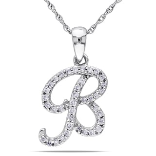 Miadora 10k White Gold 1/6ct TDW Diamond 'B' Initial Necklace (G-H, I1-I2)