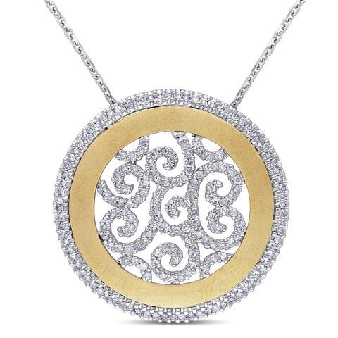 Miadora 14k Two-tone Gold 1ct TDW Diamond Filigree Circle Necklace