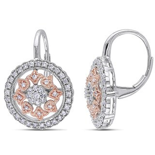 Miadora 14k Rose/White Gold 1/2ct TDW Diamond Earrings