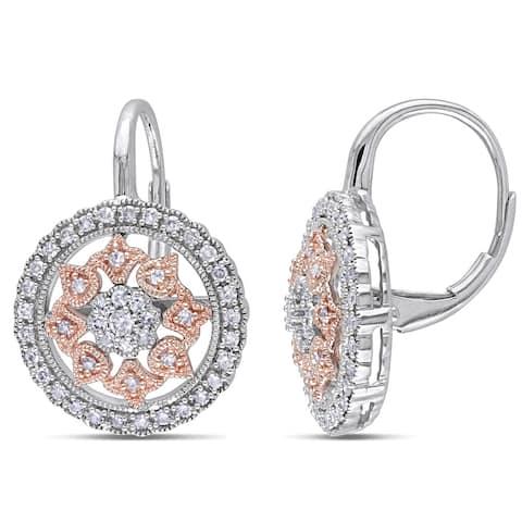 Miadora 14k Rose/White Gold 1/2ct TDW Diamond Earrings