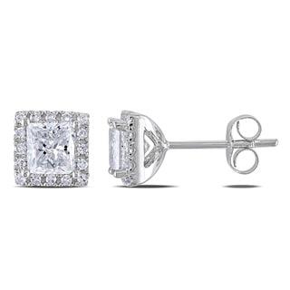 Miadora Signature Collection 14k White Gold 1 3/5ct TDW Diamond Halo Stud Earrings