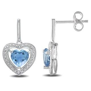 Miadora Sterling Silver 2ct TGW Sky Blue Topaz and Diamond Heart Earrings