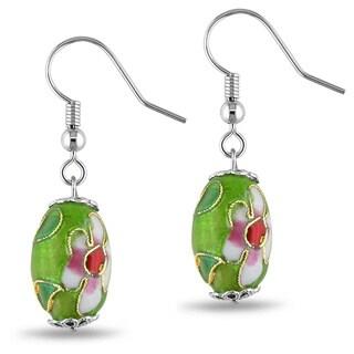 Miadora Base Metal Multi-color Enamel Dangle Earrings