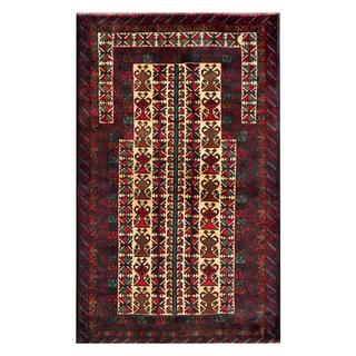 Herat Oriental Semi-antique Afghan Hand-knotted Tribal Balouchi Tan/ Navy Wool Rug (2'9 x 4'7)