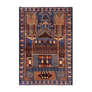 Herat Oriental Semi-antique Afghan Hand-knotted Tribal Balouchi Navy/ Tan Wool Rug (2'11 x 4'3)