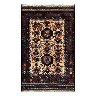 Herat Oriental Semi-antique Afghan Hand-knotted Tribal Balouchi Tan/ Navy Wool Rug (2'9 x 4'4)