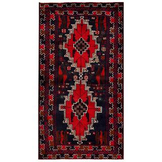 Herat Oriental Afghan Hand-knotted 1960s Semi-antique Tribal Balouchi Wool Rug (2'9 x 5'1)