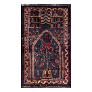 Herat Oriental Afghan Hand-knotted 1950s Semi-antique Tribal Balouchi Wool Rug (2'7 x 4'5)
