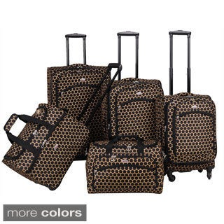 American Flyer Favo Collection 5-piece Polka Dot Spinner Luggage Set