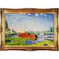 Claude Monet 'Red Boats at Argenteuil' Hand Painted Framed Canvas Art - Blue