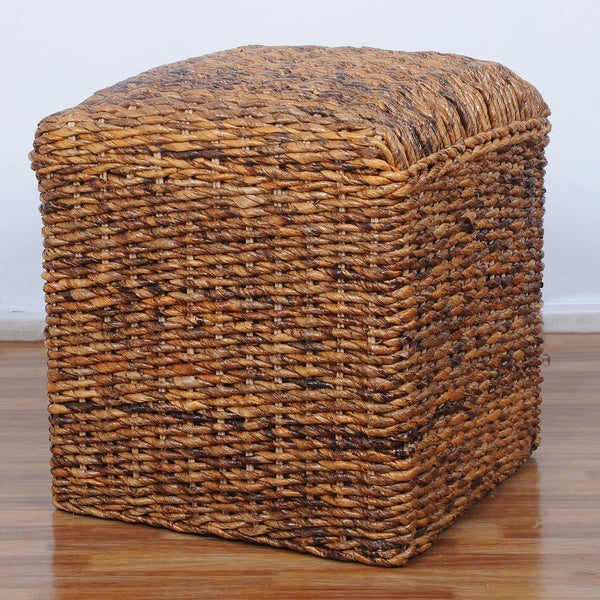 International Caravan U0026#x27;Arizonau0026#x27; Square Hand Woven Abaca Ottoman
