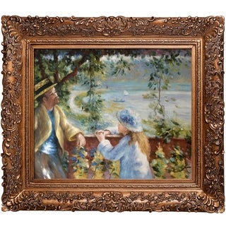 Pierre-Auguste Renoir 'Near the Lake' Hand Painted Framed Canvas Art