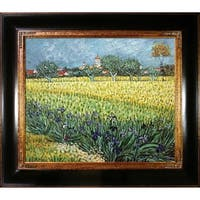 Vincent Van Gogh 'View of Arles with Irises' Hand Painted Framed Canvas Art