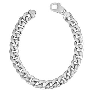 Fremada Rhoduim-plated Sterling Silver Men's Bold 8-mm Hollow Curb Link Bracelet