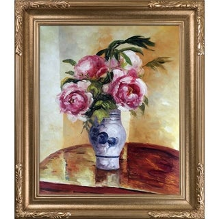 Camille Pissarro 'Bouquet of Pink Peonies' Hand Painted Framed Canvas Art