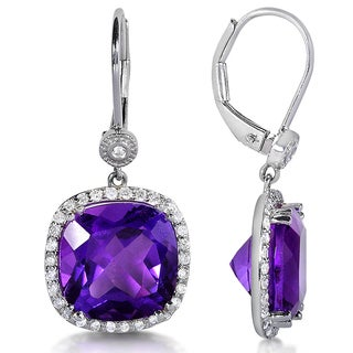 Annello by Kobelli Sterling Silver Cushion-cut Amethyst and 2/5ct TDW Diamond Halo Earrings