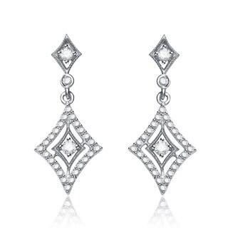 Collette Z Sterling Silver Cubic Zirconia Diamond-shape Drop Earrings