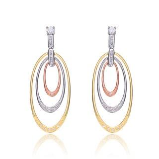 Collette Z Tri Color Sterling Silver Cubic Zirconia Oval Dangle Earrings