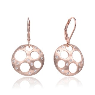 Collette Z Rose-plated Sterling Silver Cubic Zirconia Bubble Brushed Earrings