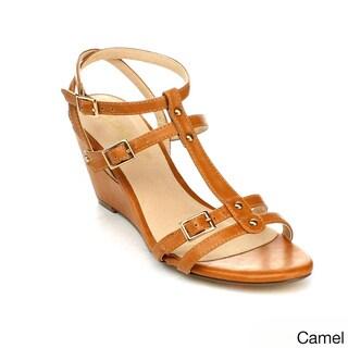 DBDK Women's 'Dee-4' Double T-strap Wedge Sandals