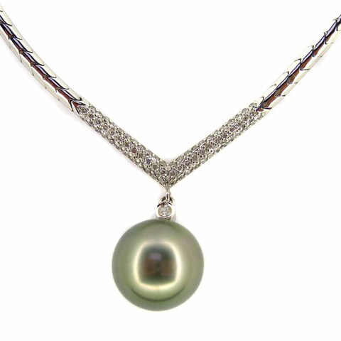 Kabella Luxe 18k White Gold 3/4ct TDW Diamond and Tahitian Pearl Necklace (H-I, SI1-SI2) (14-15 mm)