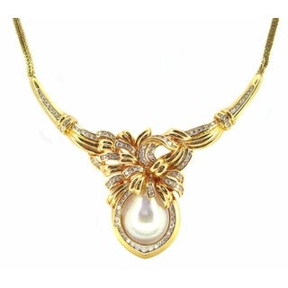 Kabella Luxe 14k Gold 2 3/8ct TDW Vintage Antique Era Diamond South Sea Pearl Necklace (H-I, SI1-SI2) (14-15 mm)