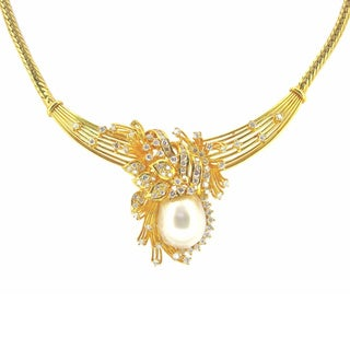 Kabella Luxe 14k Gold 2 1/2ct TDW Vintage Antique Era Diamond South Sea Pearl Necklace (H-I, SI1-SI2) (13-14 mm)